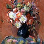 Stillleben - Blumen in blauem Krug vor rotem Hintergrund, Irmenach 1925