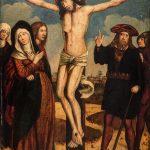 Unbekannter Künstler, Christus am Kreuz mit Begleitfiguren, um 1480, Öl auf Holz, 74 x 53 cm. © Kurpfälzisches Museum der Stadt Heidelberg