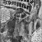 Druckstock einer Zeitungswerbung zum ersten Schinderhannes-Kinofilm von 1928, einem Stummfilm von Kurt Bernhard. Dieses Motiv befindet sich auf dem Deckblatt des Illustrierten Film-Kuriers von 1928 (Jg. 10, Nr. 806). Es zeigt den Schauspieler Hans Stüve als Schinderhannes mit einer Brandfackel in der erhobenen Hand.