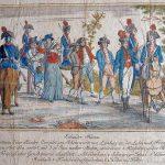 Überführung des Schinderhannes von Limburg nach Frankfurt | Frankfurt 1802 | kolorierter Kupferstich | Mainz, Stadtarchiv