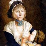 Karl Matthias Ernst: Juliana Bläsius, Geliebte des Schinderhannes mit Sohn | Mainz, 1803 | Gouache | Mainz, Stadtarchiv
