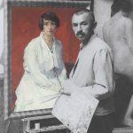 Ströher im Atelier in der Hardenbergstraße in Berlin-Charlottenburg, um 1912